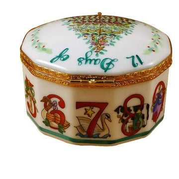 12 Days of Christmas Limoges Box with Removable Wreath by Rochard™