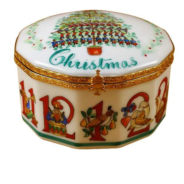 12 Days of Christmas Limoges Box with Removable Wreath by Rochard™-Limoges Box-Rochard-Top Notch Gift Shop