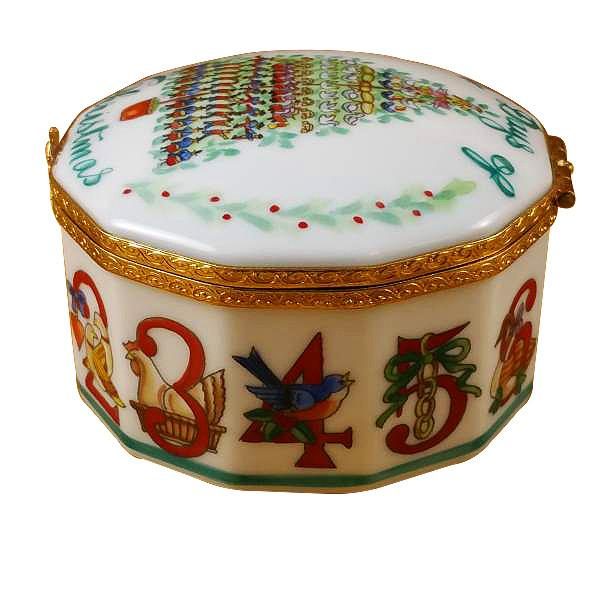 12 Days of Christmas Limoges Box with Removable Wreath by Rochard-Limoges Box-Rochard-Top Notch Gift Shop