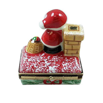 Santa On Roof with Gift Bag Limoges Box by Rochard™
