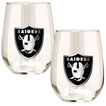 Las Vegas Raiders 15 oz. Stemless Wine Glass - (Set of 2)