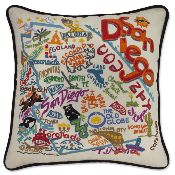 San Diego Embroidered Catstudio Pillow-Pillow-CatStudio-Top Notch Gift Shop
