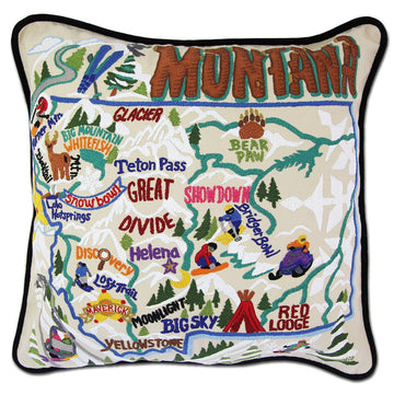 Ski Montana  Embroidered Catstudio Pillow