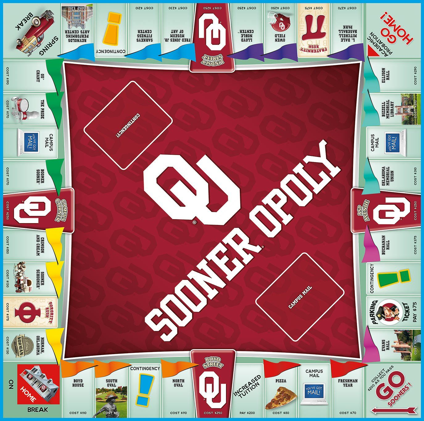 Sooner-opoly University of Oklahoma Monopoly Game-Game-Late For The Sky-Top Notch Gift Shop