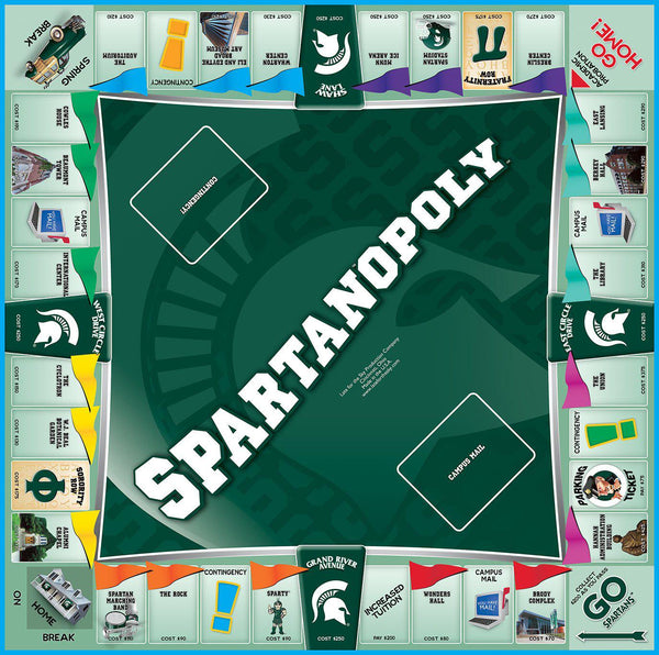 Spartan-opoly - Michigan State University Monopoly Board Game-Game-Late For The Sky-Top Notch Gift Shop