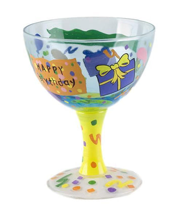 Happy Birthday Hand Painted Ice Cream Sundae Bowl
