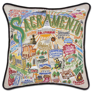 Sacramento Hand Embroidered Catstudio Pillow