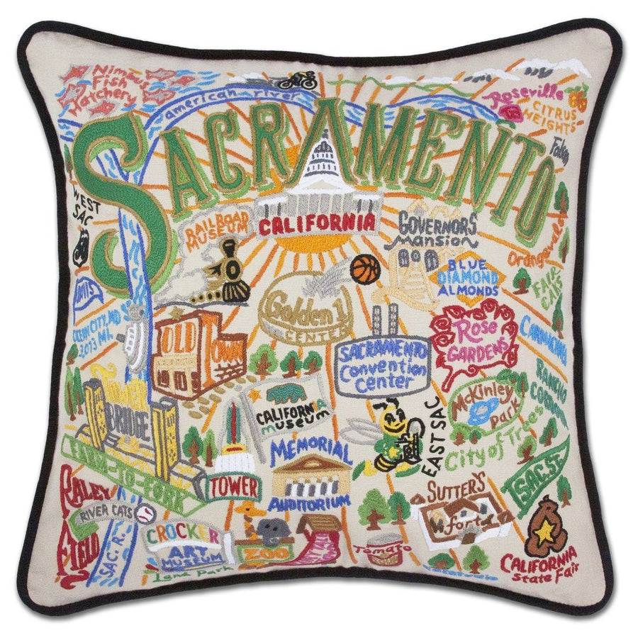Sacramento Hand Embroidered Catstudio Pillow-Pillow-CatStudio-Top Notch Gift Shop