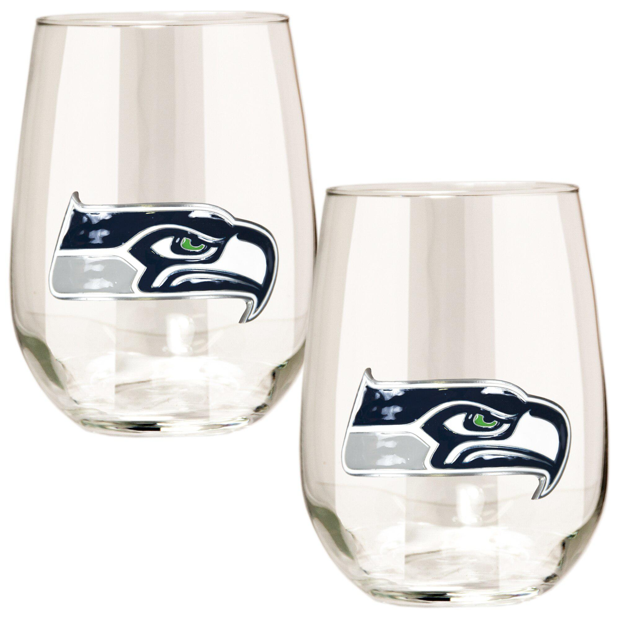 Seattle Seahawks 15 oz. Stemless Wine Glass - (Set of 2)-Stemless Wine Glass-Great American Products-Top Notch Gift Shop