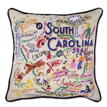 South Carolina Embroidered Catstudio State Pillow