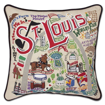 St. Louis Hand Embroidered Catstudio Pillow
