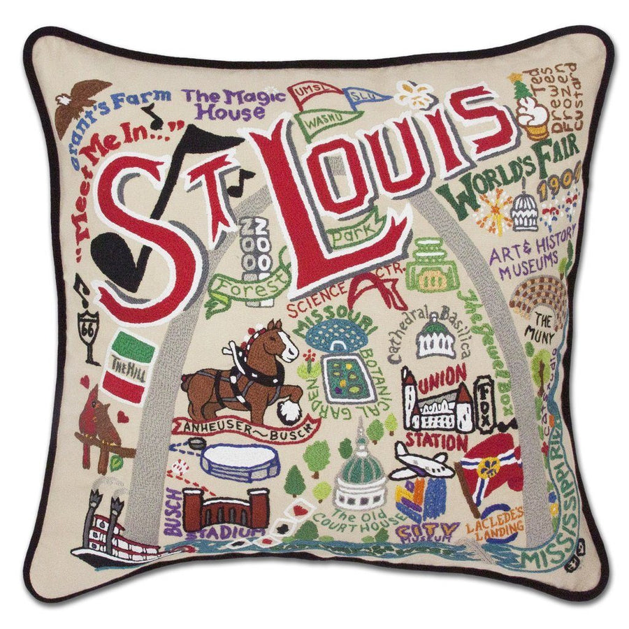 St. Louis Hand Embroidered Catstudio Pillow-Pillow-CatStudio-Top Notch Gift Shop