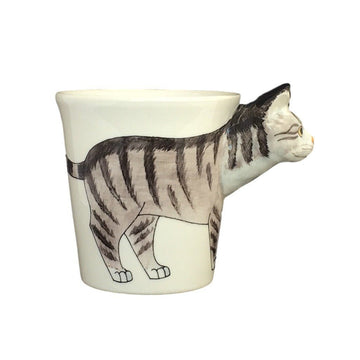 Gray Tabby Cat Hand Painted Coffee Mug