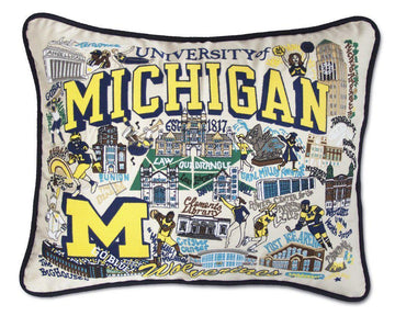 University of Michigan Embroidered Catstudio Pillow