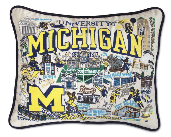University of Michigan Embroidered Catstudio Pillow-Pillow-CatStudio-Top Notch Gift Shop