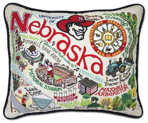 University of Nebraska Embroidered Catstudio Pillow-Pillow-CatStudio-Top Notch Gift Shop