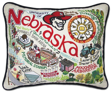 University of Nebraska Embroidered Catstudio Pillow