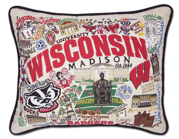 University of Wisconsin Embroidered Catstudio Pillow