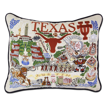 University of Texas Embroidered Pillow by Catstudio
