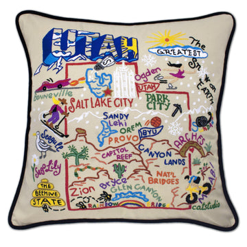 Utah Embroidered Catstudio State Pillow