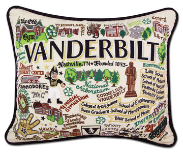 Vanderbilt University Embroidered Catstudio Pillow
