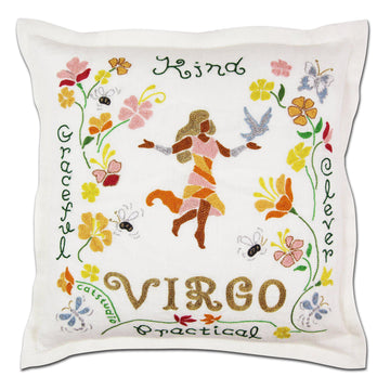 Virgo Astrology Hand-Embroidered Pillow