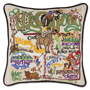 Wyoming State Embroidered CatStudio Pillow-Pillow-CatStudio-Top Notch Gift Shop