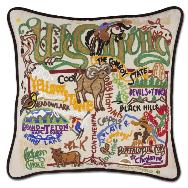 Wyoming Embroidered Catstudio State Pillow-Pillow-CatStudio-Top Notch Gift Shop