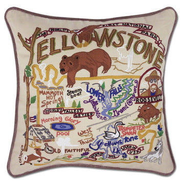 Yellowstone National Park Embroidered Catstudio Pillow