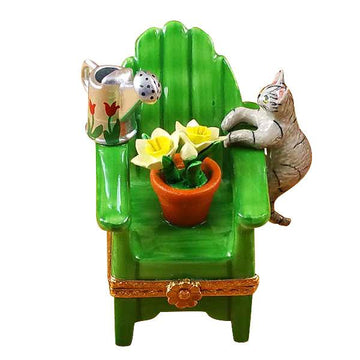 Adirondack Chair With Cat- Watering Can And Plant Limoges Box by Rochard™