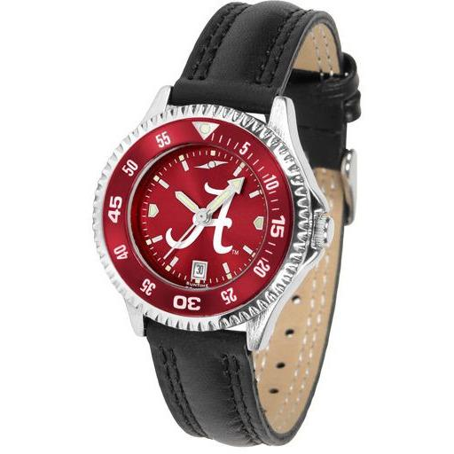 Alabama Crimson Tide Ladies Competitor Ano Poly/Leather Band Watch w/ Colored Bezel-Suntime-Top Notch Gift Shop