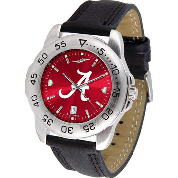 Alabama Crimson Tide Mens AnoChrome Leather Band Sports Watch