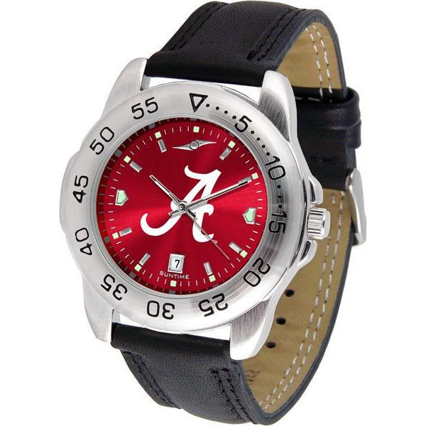 Alabama Crimson Tide Mens AnoChrome Leather Band Sports Watch-Suntime-Top Notch Gift Shop