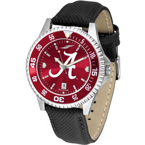 Alabama Crimson Tide Mens Competitor Ano Poly/Leather Band Watch w/ Colored Bezel-Watch-Suntime-Top Notch Gift Shop