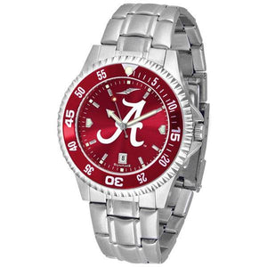 Alabama Crimson Tide Mens Competitor AnoChrome Steel Band Watch w/ Colored Bezel-Watch-Suntime-Top Notch Gift Shop