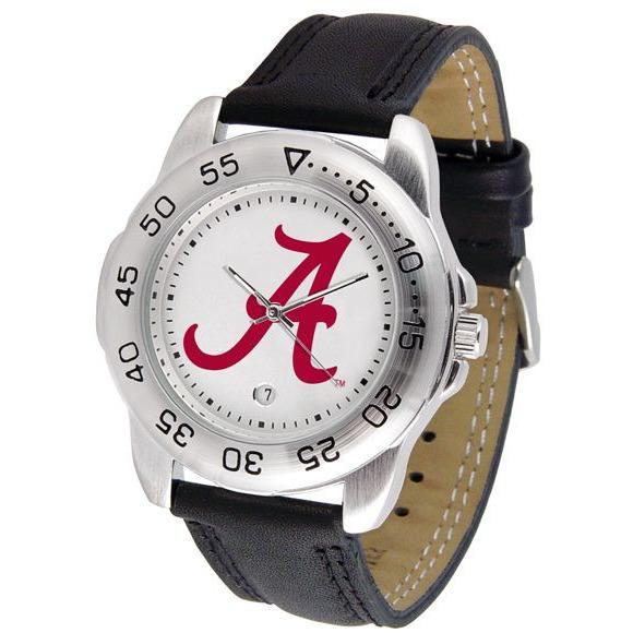 Alabama Crimson Tide Mens Leather Band Sports Watch-Suntime-Top Notch Gift Shop
