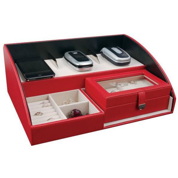 Amelia - Faux Leather Electronic Charging Station in Red-Mele & Co.-Top Notch Gift Shop