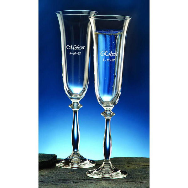 Angela Personalized Flutes - 7 oz. (Set of 2)-Champagne Glass-J Charles-Top Notch Gift Shop