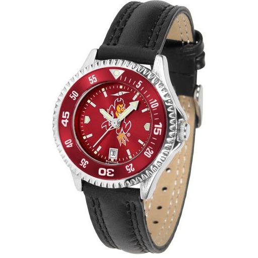 Arizona State Sun Devils Ladies Competitor Ano Poly/Leather Band Watch w/ Colored Bezel-Suntime-Top Notch Gift Shop