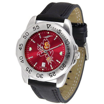 Arizona State Sun Devils Mens AnoChrome Leather Band Sports Watch