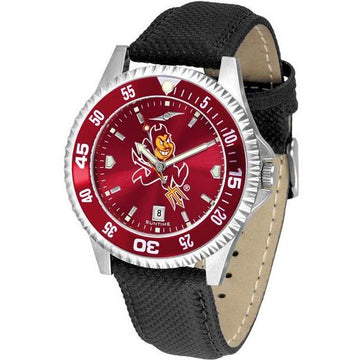 Arizona State Sun Devils Mens Competitor Ano Poly/Leather Band Watch w/ Colored Bezel