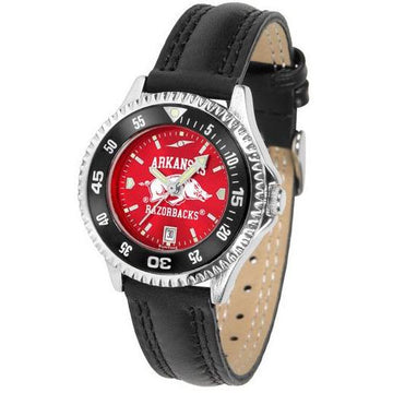 Arkansas Razorbacks Ladies Competitor Ano Poly/Leather Band Watch w/ Colored Bezel