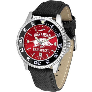 Arkansas Razorbacks Mens Competitor Ano Poly/Leather Band Watch w/ Colored Bezel