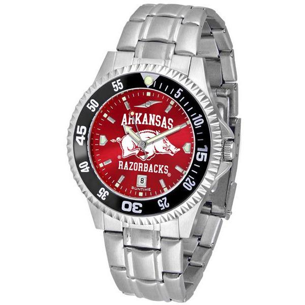 Arkansas Razorbacks Mens Competitor AnoChrome Steel Band Watch w/ Colored Bezel-Watch-Suntime-Top Notch Gift Shop