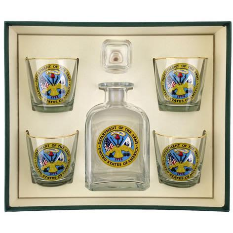 Army Logo 5 Piece Decanter Set-Decanter-Richard E. Bishop-Top Notch Gift Shop