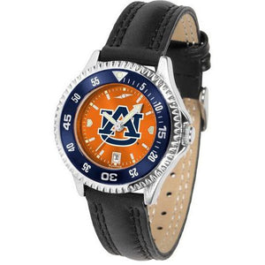 Auburn Tigers Ladies Competitor Ano Poly/Leather Band Watch w/ Colored Bezel-Watch-Suntime-Top Notch Gift Shop