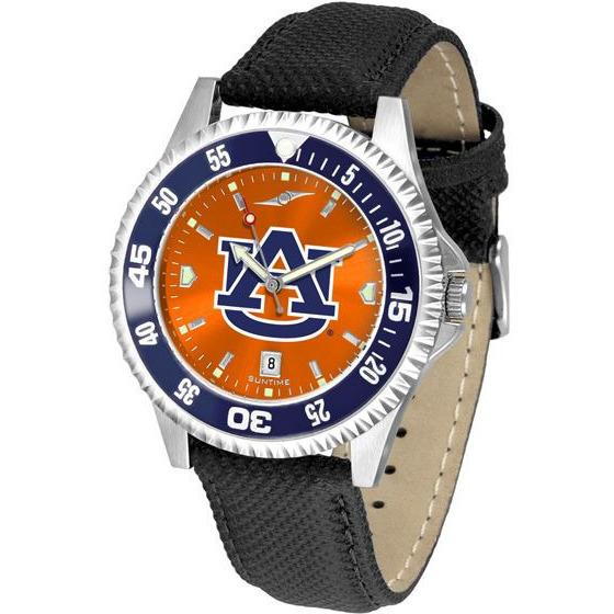 Auburn Tigers Mens Competitor Ano Poly/Leather Band Watch w/ Colored Bezel-Watch-Suntime-Top Notch Gift Shop