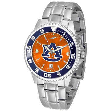 Auburn Tigers Mens Competitor AnoChrome Steel Band Watch w/ Colored Bezel