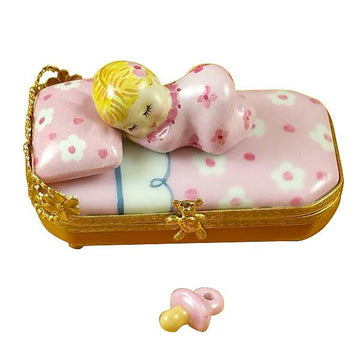 Baby In Pink Bed With Pacifier Limoges Box  by Rochard