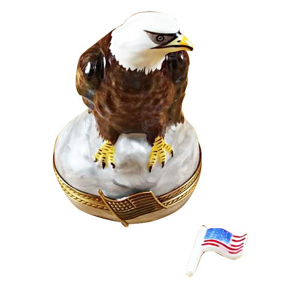 Bald Eagle With American Flag Limoges Box by Rochard™-Rochard-Top Notch Gift Shop